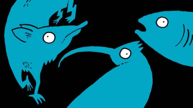 """Affiche de l'exposition """"Disparus"""" avec des silhouettes d'animaux"""