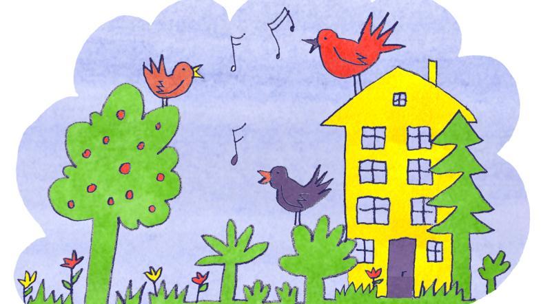 Illustration Gartenvögel