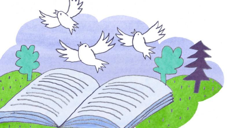 Illustration eines offenen Buches, das auf einer Wiese liegt, drei weisse Vögel fliegen daraus hervor