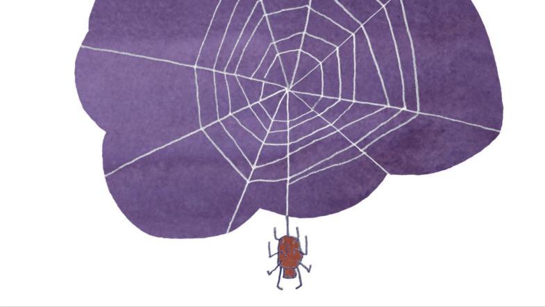 Illustration eines Spinnennetzes mit kleiner roten Spinne