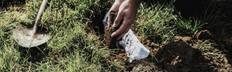 Eine Person vergräbt eine Baumwollunterhose im Erdboden