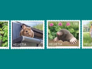 Vier Briefmarkensujets: Hermelin, Maus, Maulwurf, Fuchs