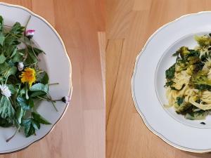 Ein Teller mit rohen Wildkräutern, einer mit einem fertigen Pasta-Gericht